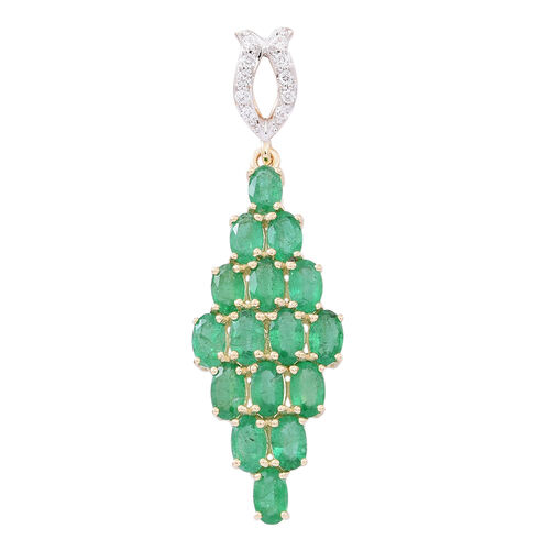 9K Yellow Gold AAA Kagem Zambian Emerald (Ovl), Natural White Cambodian Zircon Pendant 4.250 Ct.