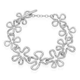 LucyQ Floral Bracelet (Size 7) in Rhodium Plated Sterling Silver 29.00 Gms.