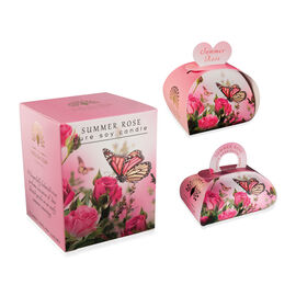 THE ENGLISH SOAP COMPANY- Luxury Guest Soaps 3x20g, Large Gift Soap 260g and Pure Soy Wax Candle  Summer Rose- Estimated delivery within 5-7 working days