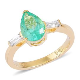 ILIANA 18K Y Gold AAA Boyaca Colombian Emerald (Pear 1.75 Ct), Diamond (SI/G-H) Ring 2.000 Ct.