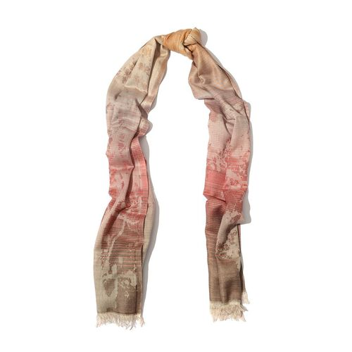 Modal and Cotton Cream and Rose Colour Abstract Print Shawl (Size 190x75 Cm)