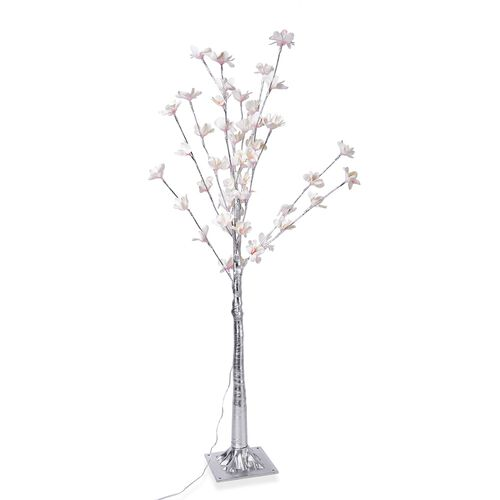 Warm Colour LED Light Adorned Tree with Flowers and Silver Trunk (Size 120X18.5 Cm)