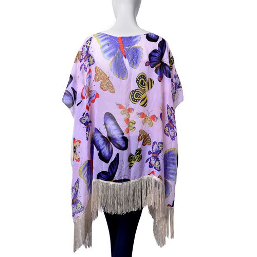 Multi Colour Butterfly Pattern Light Purple Colour Poncho with Tassels (Free Size)
