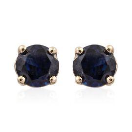 9K Yellow Gold 0.60 Carat AAA Kanchanaburi Blue Sapphire (Rnd) Stud Earrings (with Push Back)