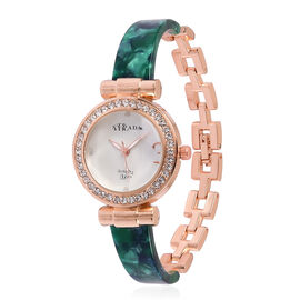 STRADA Japanese Movement White Austrian Crystal Studded White Dial Watch in Rose Gold Tone with Stainless Steel Back and Dark Green Colour Strap