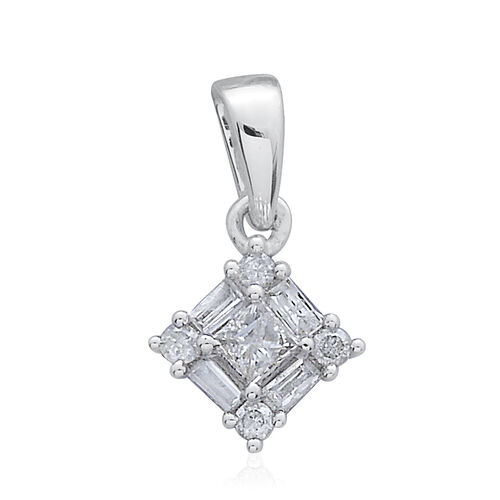 9K White Gold SGL Certified Princess Diamond Pendant (I3/G-H)