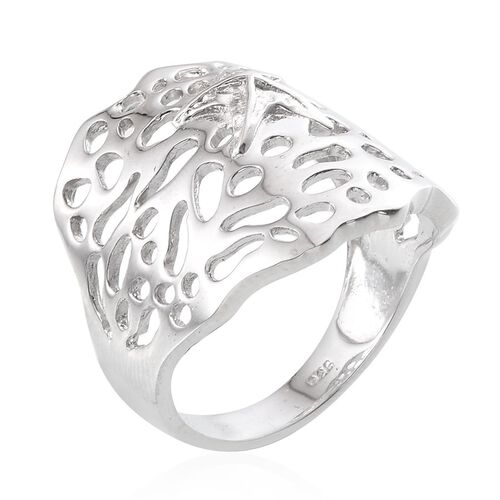 Platinum Overlay Sterling Silver Star Fish on Coral Reef Design Ring, Silver wt 6.50 Gms.
