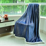 Brand New - Supersoft Deep Blue Sparkly Sherpa Blanket with Silver Foil Printed Silky Flannel (Size 200X150 Cm)