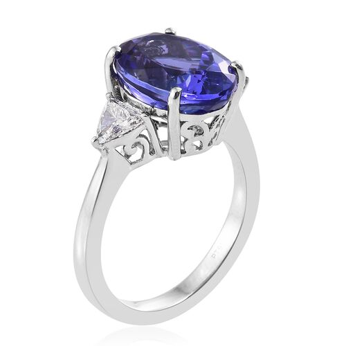 RHAPSODY 950 Platinum AAAA Tanzanite (Ovl 7.87 Ct), Diamond (VS/E-F) Ring 8.400 Ct.
