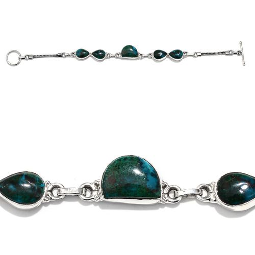 Peruvian Chrysocolla Bracelet in Sterling Silver (Size 7.5) 21.05 Ct., Silver weight 9 gram