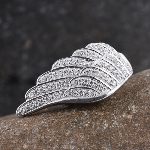 J Francis - Platinum Overlay Sterling Silver (Rnd) Wings Ring Made with SWAROVSKI ZIRCONIA
