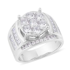 ELANZA AAA Simulated White Diamond Ring in Rhodium Plated Sterling Silver