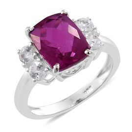 Radiant Orchid Triplet Quartz (Cush 3.25 Ct), White Topaz Ring in Sterling Silver 3.750 Ct.