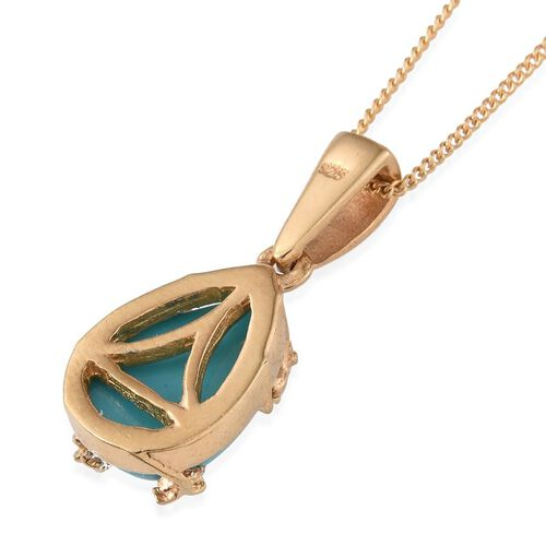 Sonoran Turquoise (Pear) Solitaire Pendant With Chain in 14K Gold Overlay Sterling Silver 2.750 Ct.