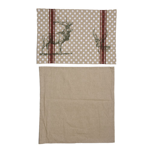 100% Cotton Stag Design Grey, Maroon and White Colour Table Runner (Size 180x45 Cm)