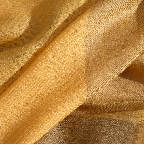 100% Cashmere Wool Canary Yellow Colour Zigzag Pattern Shawl with Fringes (Size 200X65 Cm)