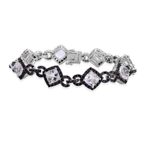 White Quartz (Cush), Boi Ploi Black Spinel Bracelet (Size 7) in Black Rhodium Plated Silver 15.980 Ct. Silver wt 14.00 Gms. Number of Gemstone 272