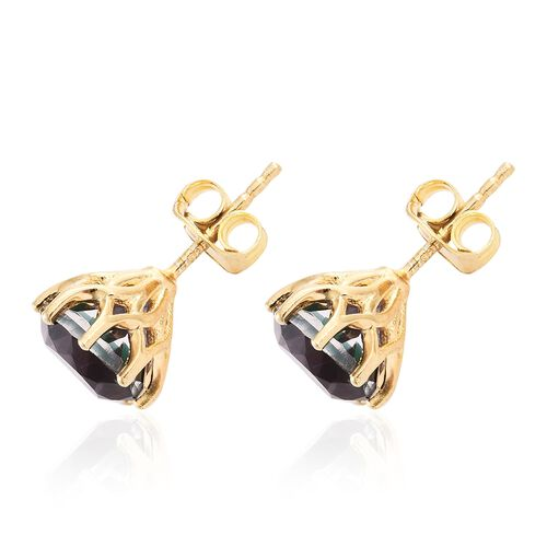 Alexandria Quartz (Rnd) Stud Earrings (with Push Back) in 14K Gold Overlay Sterling Silver 4.250 Ct.