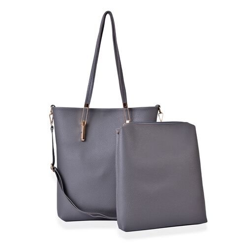 Set of 2-  Grey Colour Large Handbag with Adjustable  Shoulder Strap (Size 32x30x7 Cm) and Small Handbag (Size 31x27x4 Cm)