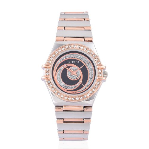 STRADA Japanese Movement Silver Stardust Black Colour Dial with White Austrian Crystal Water Resistant Watch in Rose Gold and Silver Tone with Stainless Steel Back