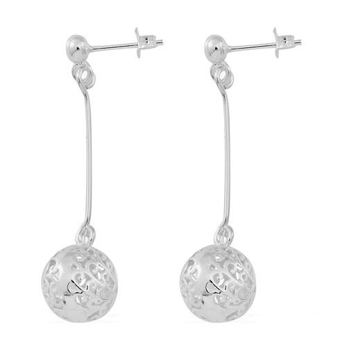 Designer Inspired Sterling Silver Filigree Dangling Earrings (with Push Back), Silver wt 4.04 Gms.