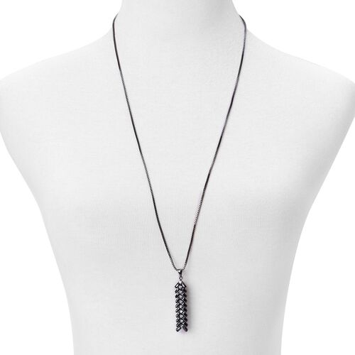 AAA Simulated Black Spinel and Simulated White Diamond Pendant With Chain (Size 30) in Black Tone