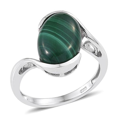 Malachite (Ovl) Solitaire Ring in Platinum Overlay Sterling Silver 7.000 Ct.