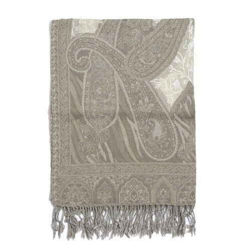 Hand Embroidered100% Merino Wool Paisley Pattern Cream and Chocolate Colour Shawl (Size 180x65 Cm)