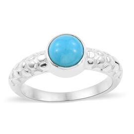 Arizona Sleeping Beauty Turquoise (Rnd) Ring in Sterling Silver 1.740 Ct, Silver wt 5.54 Gms.