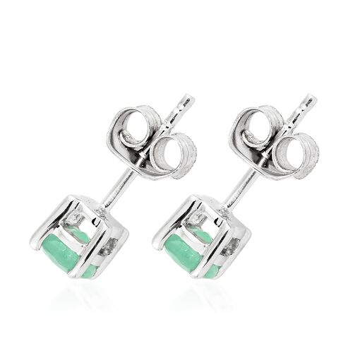 0.75 Ct AA Kagem Zambian Emerald Stud Earrings in 9K White Gold (with Push Back)