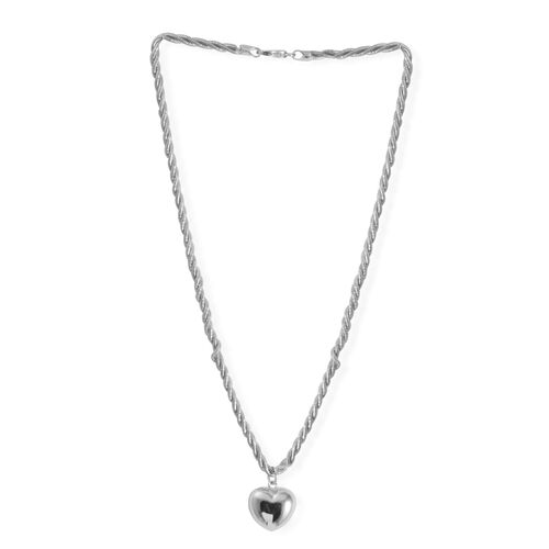 Close Out Deal Rhodium Plated Sterling Silver Heart Necklace (Size 18), Silver wt 20.70 Gms.
