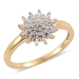 Diamond 14K Gold Overlay Sterling Silver Ring  0.330  Ct.