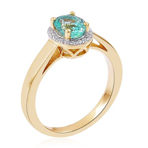 9K Yellow Gold 1.33 Ct Boyaca Colombian Emerald, Diamond Ring