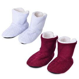 Set of 2 - Grey and Wine Colour Knitted Faux Fur Booties (Size 25X17 Cm)