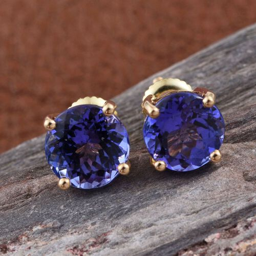 ILIANA 18K Yellow Gold AAA Tanzanite (Rnd) Stud Earrings (with Screw Back) 3.000 Ct.