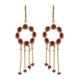 African Ruby (Ovl and Rnd) Lever Back Earrings in 14K Gold Overlay Sterling Silver 11.000 Ct. Silver wt 8.96 Gms.