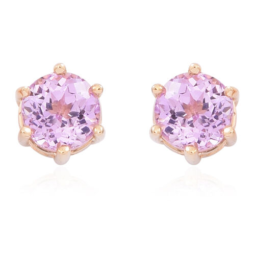 ILIANA 18K Y Gold AAA Kunzite (Rnd) Stud Earrings (with Screw Back) 1.500 Ct.