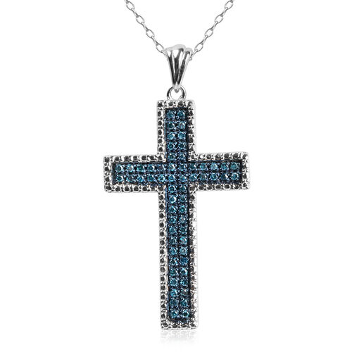 Blue Diamond (Rnd) Cross Pendant with Chain in Rhodium Plated Sterling Silver 0.250 Ct.