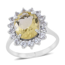 Lemon Quartz (Ovl 4.00 Ct), White Topaz Floral Ring in Rhodium Plated Sterling Silver 5.500 Ct.