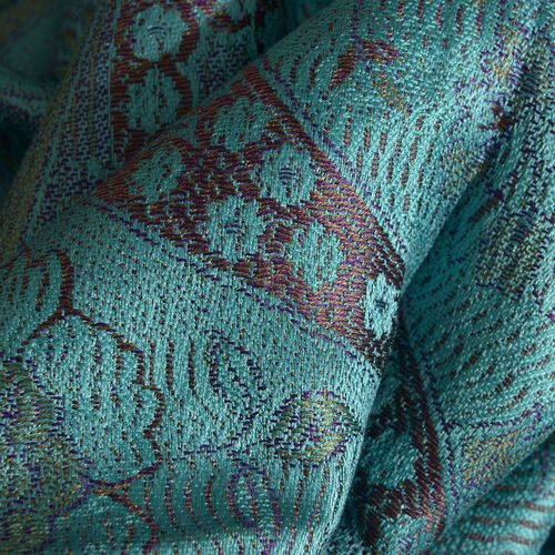 SILK MARK - 100% Superfine Silk Turquoise and Multi Colour Jacquard Jamawar Scarf with Fringes at the Bottom (Size 180x70 Cm) (Weight 125 - 140 Gms)