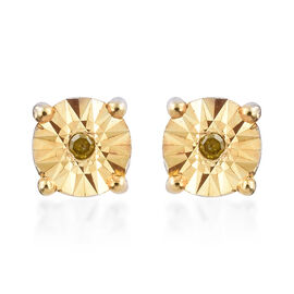 Yellow Diamond (Rnd) Stud Earrings (with Push Back) in Platinum with Gold Overlay Sterling Silver.