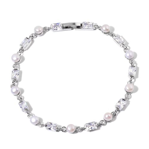 Fresh Water White Pearl and Simulated White Diamond Bracelet (Size 8) in Silver Tone
