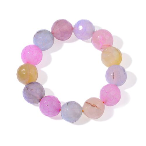Multi Agate Enhanced Stretchable Bracelet (Size 7.5) 330.000 Ct.