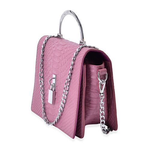Snake Embossed Dark Pink Colour Crossbody Bag with Removable Chain Strap (Size 21x17x8 Cm)