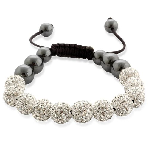 Shamballa Friendship Eleven White Austrian Crystal, Hematite Bracelet (Adjustable)  60.000  Ct.