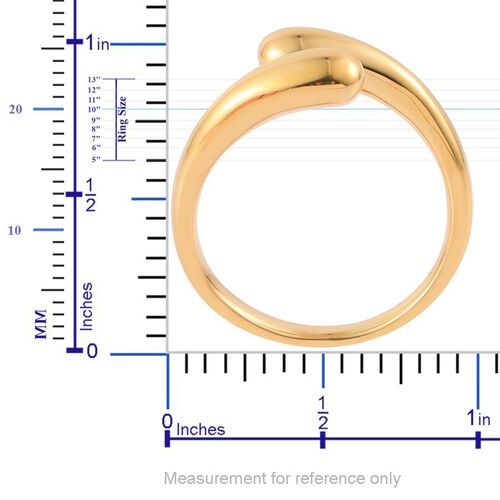 LucyQ Drip Crossover Ring in Yellow Gold Overlay Sterling Silver 5.38 Gms.