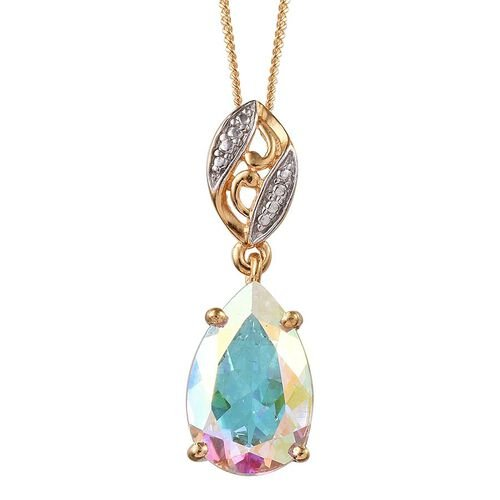 Mercury Mystic Topaz (Pear) Solitaire Pendant With Chain in 14K Gold Overlay Sterling Silver 4.400 Ct.