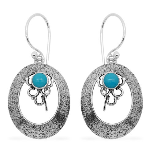 Royal Bali Collcetion Arizona Sleeping Beauty Turquoise (Rnd) Hook Earrings in Sterling Silver 0.400 Ct.