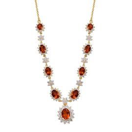Madeira Citrine (Ovl 1.00 Ct), White Topaz Necklace (Size 18) in 14K Gold Overlay Sterling Silver 8.000 Ct.