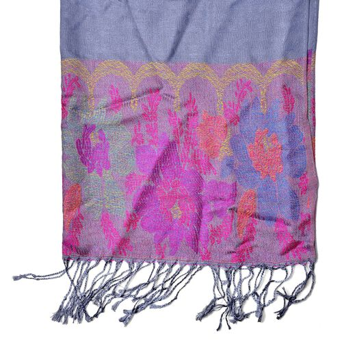 Multi Colour Paisley Pattern Grey Colour Scarf with Fringes at the Bottom (Size 170x68 Cm)